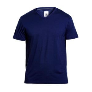 Essential V-Neck Merino Tee By Outerboro in navy blue