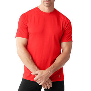 Merino 150 Baselayer Short Sleeve by Smartwool in red for men