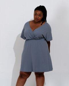 Brooklyn Wool& dress in blue