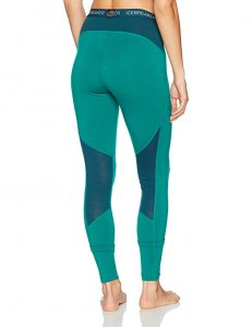 Icebreaker Women's Winter Zone Leggings in green with mesh