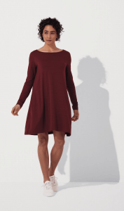 Wooland Rowena Swing Dress in Burgundy color