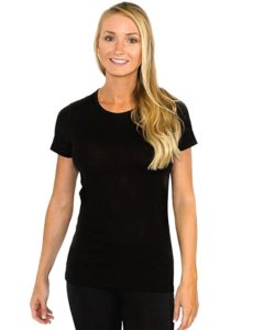 Woolx Women's Merino Wool Tee all black