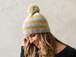 Chunky Striped Hat Knitting Kit by Susan B. Anderson in grey and yellow