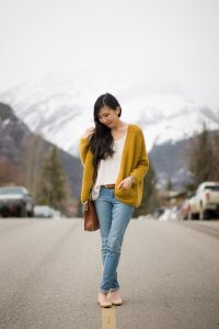 MidTown Cardigan in Merino Wool in yellow mustard