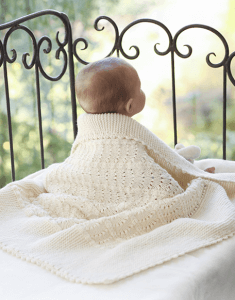 Princess Chantilly baby blanket in champagne merino wool yarn