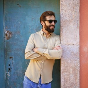 Seagale merino wool shirt in Camel