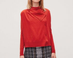 COS merino Button-Up Cardigan in red