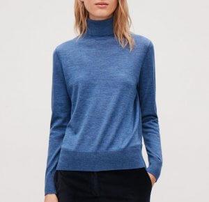 COS Roll-Neck merino wool jumper in blue