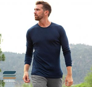 MERIWOOL Mens Base Layer - 100% Merino Wool Midweight Long Sleeve Thermal Shirt in blue