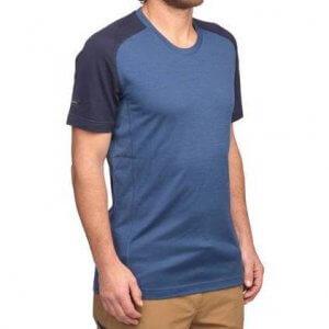 Decathlon Men's Mountain Backpacking Short-Sleeved Merino T-Shirt Trek 500 in blue