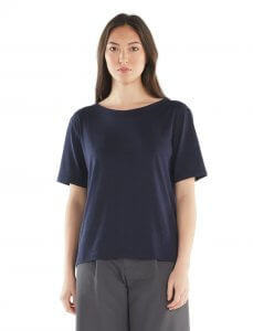 Women's 旅 TABI Tech Lite Laid Back Short Sleeve Crewe in navy blue
