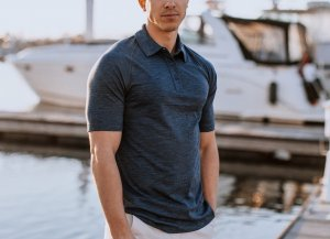 WoolX Men's Summit Polo in grey